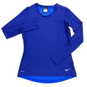 Nike Dri-Fit Blue Open Mesh Back Long Sleeve Shirt